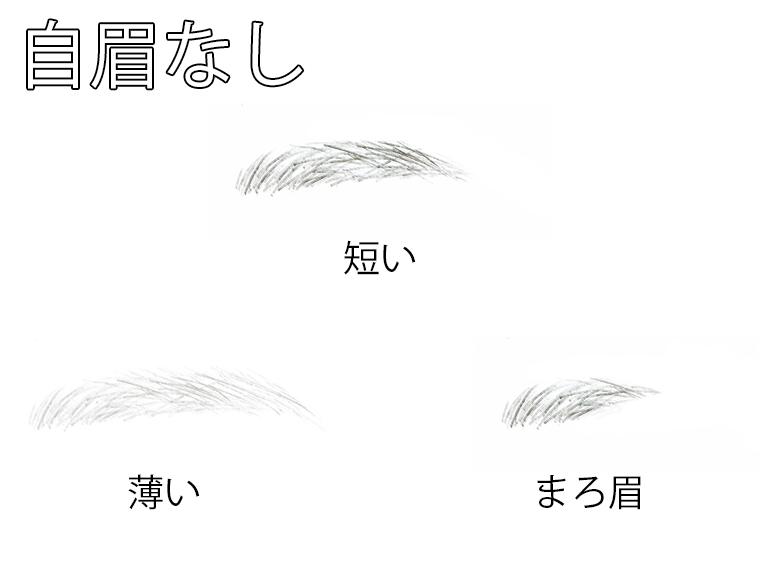 自眉なしの眉毛の例